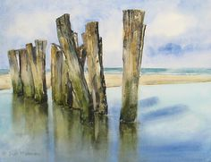 Edo Hannema Watercolorart   Schoorl on Sea. These are a sort of protection. They brake the waves and protect the dunes! Schut Noblesse 300 Gr/m2 50X40cm