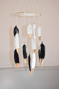 Black and White Dream catcher  Mobile Feather Mobile Baby