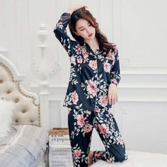 KISBINI Women Silk Stain Flower Printed Pajamas Sets Long Sleeves Shirt  Blouse+Pants 2PCS Smooth Womens Pyjamas Homewear 423ec3de2