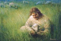 picture of jesus christ sitting down in a grassy field with a lamb on his lap sheep in background Paintings Of Christ, Jesus Christ Painting, Jesus Art, God Jesus, Lord Is My Shepherd, The Good Shepherd, Lds Art, Bible Art, Jesus Smiling