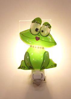 Nightlight, frog, fused glass, baby room decoration, nursery, shower gift, kid room, children