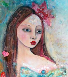 Original Mixed Media Painting, Love Conquers All