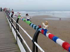 Olympic Knitting on the Pier - denigrating the spirit of the Olympics in a fantastic way. Saltburn-by-the-Sea, England...
