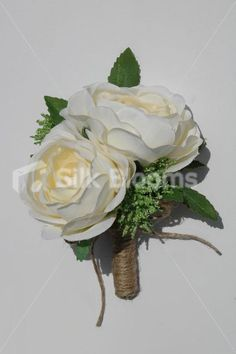 Ivory Rose Artificial Double Wedding Buttonhole w/ Hessian Rope Ursula £9.99