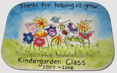 Could do something like this with all her SS students/former students when Rebecca moves.  teacher flowers with thumbprint by The Pottery Stop Gallery!, via Flickr
