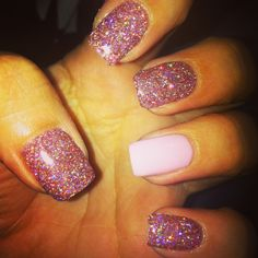 Pink glitter bio sculpture gel nails
