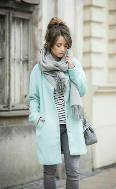 #winterfashion #coat #mint #layers #stripes #scarf #winterclothes