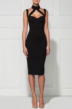 High-Colalr Back Slit Bodycon Dress