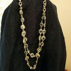 Ann Taylor Gold double strand necklace Gold double strand necklace with clear stones, adjustable Ann Taylor Jewelry Necklaces