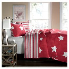 Special Edition by Lush Decor Star Quilt Set in Red