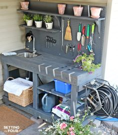 Love to garden? How to make a gorgeous DIY Potting Bench from FREE pallet wood! Has ALL the bells and whistles: a faucet sink running water mounted hose reel shelves tool storage pegboard and more! Free building tutorial instructions and supply lis Potting Bench With Sink, Potting Tables, Pallet Potting Bench, Potting Station, Outdoor Sinks, Outdoor Garden Sink, Garden Tool Storage, Water Storage, Diy Storage