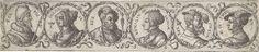 Virgilius Solis (I) | Fries met zes busten in lauwerkranzen, Virgilius Solis (I), 1524 - 1562 |