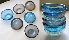 Set of Twelve Fused Glass Small Bowls. Soy Sauce by Vetrocity
