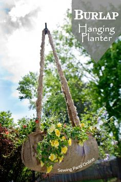 DIY burlap hanging planter
