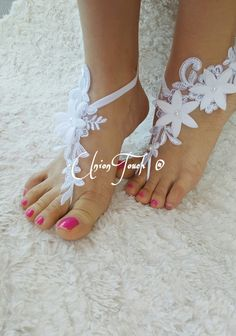 65ab01fbb2280 Elegant barefoot White lace barefoot sandals wedding by UnionTouch
