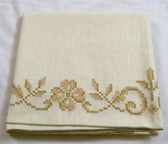 Vintage Tablecloth, Vintage Tablecloth with Embroidery, Cross Stitch Brown…