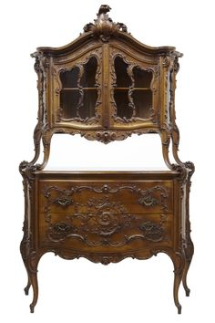 RARE 19TH CENTURY LOUIS XV INFLUENCED CARVED WALNUT 2 TIER CABINET ON COMMODE