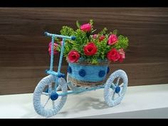 Hii Everyone, it's an easy tutorial for making a decorative tricycle by using string, cardboard, disposable box and some small miscellaneous items easily ava. Diy Crafts Hacks, Diy Home Crafts, Diy Crafts Videos, Craft Stick Crafts, Decor Crafts, Crafts For Kids, Flores Diy, Craft From Waste Material, Cd Diy