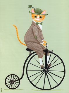Cat Bike Illustration Folk Art Ideas For 2019 I Love Cats, Crazy Cats, Cute Cats, Silly Cats, Penny Farthing, Gatos Cats, Art Graphique, Cat Drawing, Belle Photo