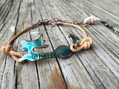 My exclusive copper mermaid with the word believe hammered into the design…