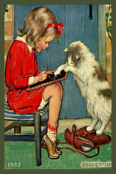 Jessie Willcox Smith 1932 , Young Girl Writing and Cat