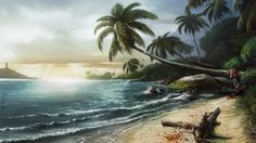 View an image titled 'Tropical Beach Art' in our Dead Island art gallery featuring official character designs, concept art, and promo pictures. Slimming World, Chocolate Belga, Survival, View Wallpaper, Palm Coast, Most Beautiful Wallpaper, Desktop Pictures, Girl Gifs, Beach Girls
