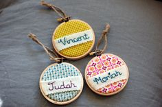 Personalized Christmas Ornament. Hand Embroidered by EightOhEight, $14.00