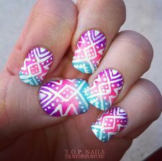 Cool Tribal Nail Art Designs, Tribal nails are created with curving and angular lines. This type of nail art incorporates bold patterns, colors and shapes. Tribal nail art worked t. Cute Nail Art, Beautiful Nail Art, Gorgeous Nails, Love Nails, Pretty Nails, Amazing Nails, Style Nails, Crazy Nails, Beautiful Images