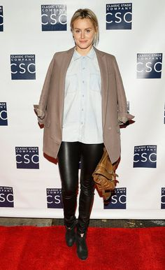 Taylor Schilling: From Red Carpet to Orange Jumpsuit: She dressed down just right in a pair of slick leather pants and a chambray button-down for an event in NYC in September 2012.