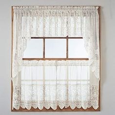 "No. 918 Joy Classic Lace Kitchen Curtain Tier Pair, 60"" x 24"", Ivory 