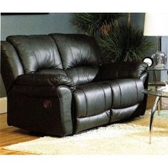 Coaster Promenade Black Leather-Match Vinyl Reclining Loveseat