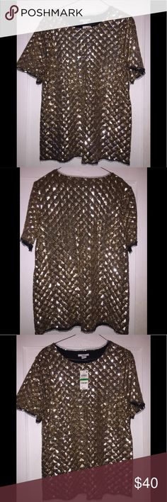 Sequined Top Stylish diamond patterned sequined top in gold with black sheer fabric trim around the bottom, sleeve and neckline...super chic can be worn with jeans or trousers or even a pencil skirt...very versatile top can go from day to night it's your choice Bar III Tops Tunics