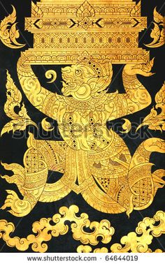 stock photo : monkey of Ramayana story in traditional Thai style art painting on window of the temple
