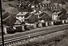October 1935. Coal miners' houses in Omar, West Virginia. 35mm nitrate negative by Ben Shahn for the Farm Security Administration.