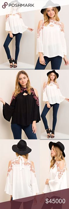 SALE☘️ BLACK EMBROIDERED TOP True to size. So pretty and feminine. Open shoulder blouse with embroidered detail. Wrap-style self-tie neckline. 100% woven rayon. Lightweight. Tops Blouses
