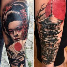 Resultado de imagen para tatuagens de templos samurais