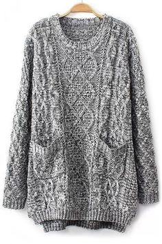 Grey Oversized Cable Knit Sweater