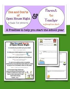 Dos & Don'ts of Open House & Parent to Teacher Info Sheet FREEBIE