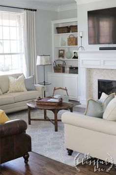 love this paint color, Winter in Paris by Valspar. Very neutral, yet bright & airy. Would lighten up my living room. Simple. Crisp. Clean