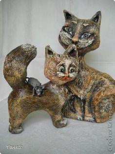 Поделка изделие Скульптура Моделирование конструирование Папье-маше Кошки-Мышки   Бумага Краска Пенопласт фото 1