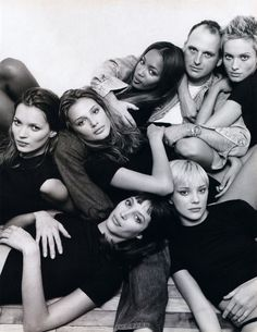 supermodels circa 1990's - Christy Turlington, Kate Moss, Naomi Campbell, Amber Valetta