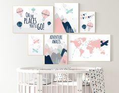 Blush Nursery, Coral Navy Nursery, Map Nursery, Travel Theme Nursery, Baby Boy Nursery Decor, Baby Room Decor, Nursery Ideas, Coral Nursery Decor, Girl Nursery Themes