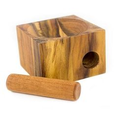 Teakwood Mortar and Pestle from Central America - Cubic Nature   NOVICA