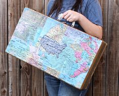 Hazel & Ruby Blog | Wrap It Up, Maps of the World Week >>> Re-Styled Old Trunk