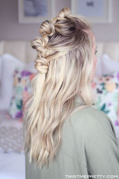 Thick Voluminous Bohemian Knotted Hairstyle with Ash Blonde Luxy Hair extensions. Love this faux hawk half updo by the talented @twistmepretty!   Photo by: http://www.twistmepretty.com/2015/09/bohemian-knotted-hairstyle-with-extensions.html  #LuxyHairExtensions