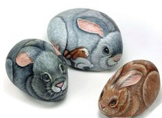 Easter Bunny painting on rock