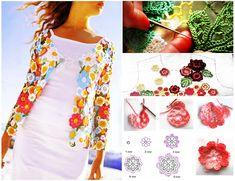 Chaqueta Flores de Colores Patron Crochet Jacket, Crochet Cardigan, Crochet Top, Irish Crochet Charts, Knitting Patterns, Crochet Patterns, Boho Tops, Crochet Fashion, Little Dresses