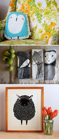 Pillows, tea towels and prints by Gingiber