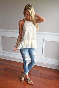 nice Ruffle My Feathers Crochet Tank - The Pulse Boutique
