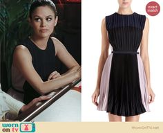 Zoe's black, white and blue pleated dress on Hart of Dixie.  Outfit details: http://wornontv.net/12714/